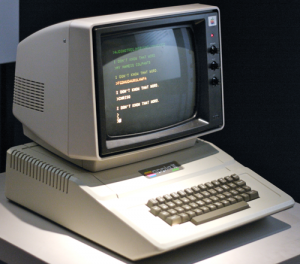 The Apple II Plus (1979) showing color display capabilities (Source: 4)